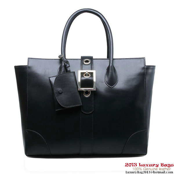 Gucci Lady Buckle Leather Top Handle Bag 323652 Black