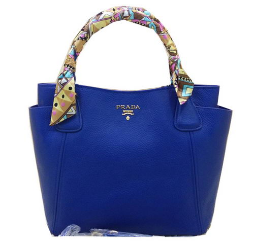 Prada Vitello Daino Tote Bag Grainy Leather BR2435T Blue