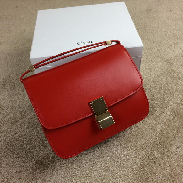 Celine Classic Box Small Flap Bag Smooth Leather C11042 Red