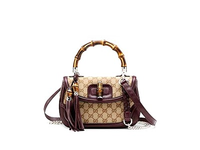 Gucci Bamboo Medium Top Handle Bag 240242 Beige Maroon