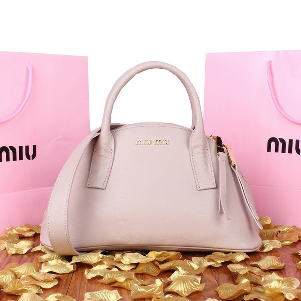 miu miu Pebble Finish Madras Goat Leather Top Handle Bag 88027 Light Pink