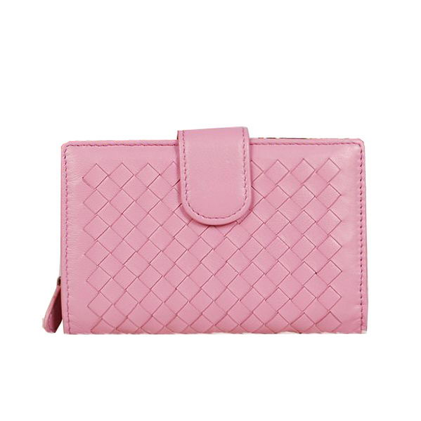 Bottega Veneta Intrecciato Nappa Flap French Wallet BV2155 Pink