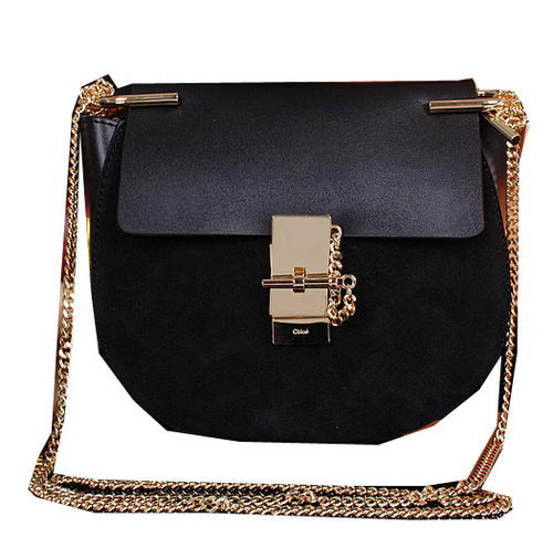 CHLOE Drew Small Suede Leather Shoulder Bag CLE7671 Black