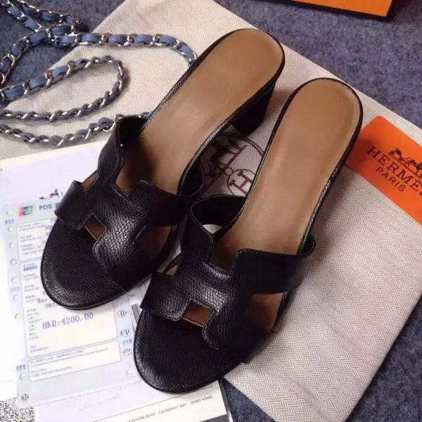 Hermes Sandals Togo Leather HO0471 Black