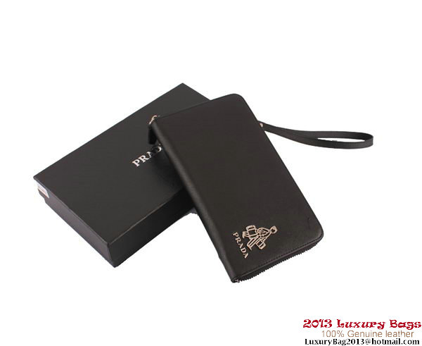 Prada Saffiano Calf Leather Wallet PR1189 Black
