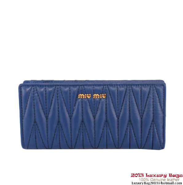 miu miu Matelasse Shiny Sheepskin Leather Wallet 8012 Blue