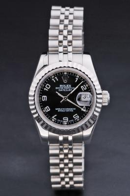 Rolex Datejust Silver Black Stainless Steel 25mm Watch-RD3790
