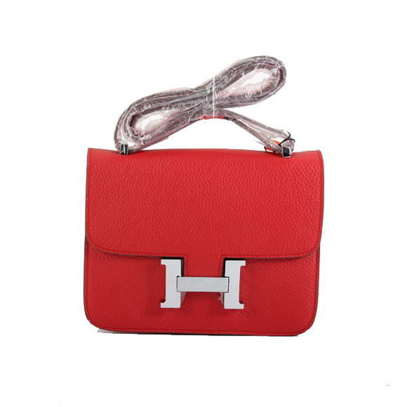 Hermes Constance Bag Red Togo Leather 1622S Silver hardware
