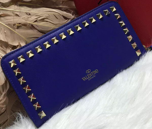 Valentino ROCKSTUD Continental Zipped Wallet VG027 Blue