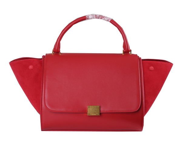 Celine Trapeze Bag Suede Leather CL6608 Red