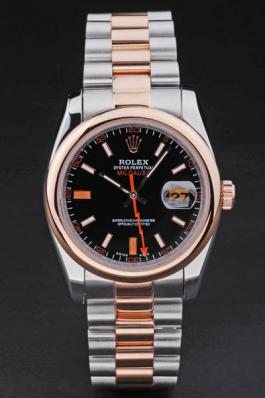 Rolex Milgauss Rose Gold&Black Stainless Steel 34mm Watch-RM3873