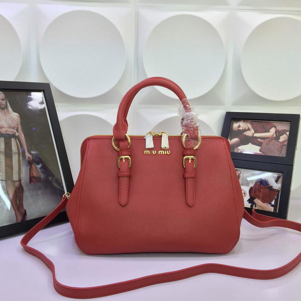 miu miu Madras Goat Leather Top-handle Bag RL1060 Red