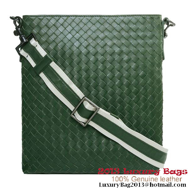 Bottega Veneta Sheepskin Leather Messenger Bags Green