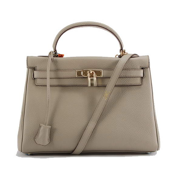 Hermes Kelly 32cm Togo Leather Handbags 6018 Light Grey Golden