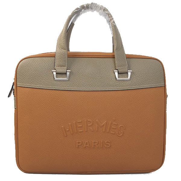 Hermes Briefcase Original Grainy Leather H8069 Wheat&Grey