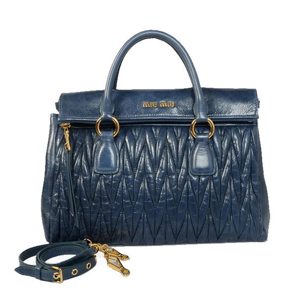 miu miu Matelasse Original Bright Leather Top-Handle Bag RN0947 RoyalBlue