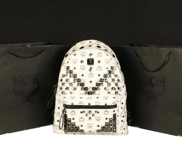 MCM Stark Backpack Jumbo in Calf Leather 8100 White