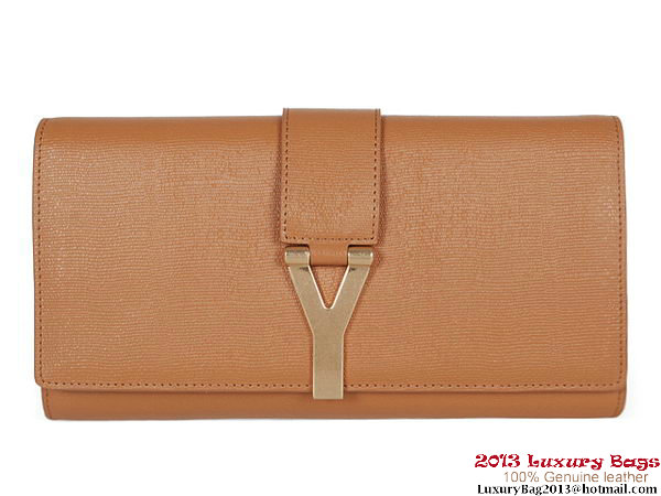 Yves Saint Laurent Belle De Jour Calf Leather Cluth YSL002 Camel