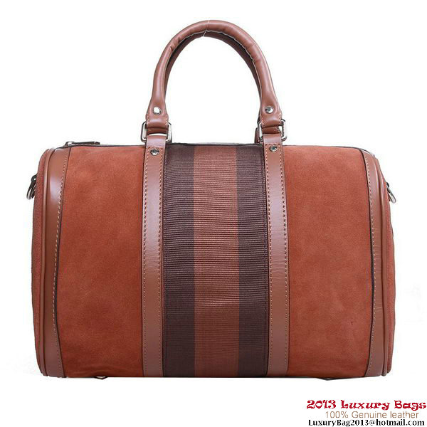 Gucci 247205 Nubuck Leather Vintage Web Boston Bag Brown