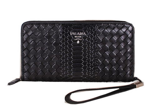 Prada Weave Leather Clutch P50741 Black