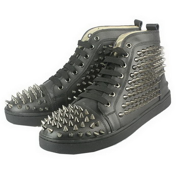 Christian Louboutin Sheepskin Spike Men Sneakers Black
