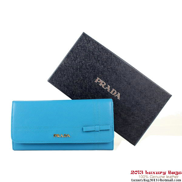 Prada Saffiano Calf Leather Bow Wallet 1M1132C Blue