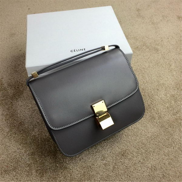 Celine Classic Box Small Flap Bag Smooth Leather C11042 Grey