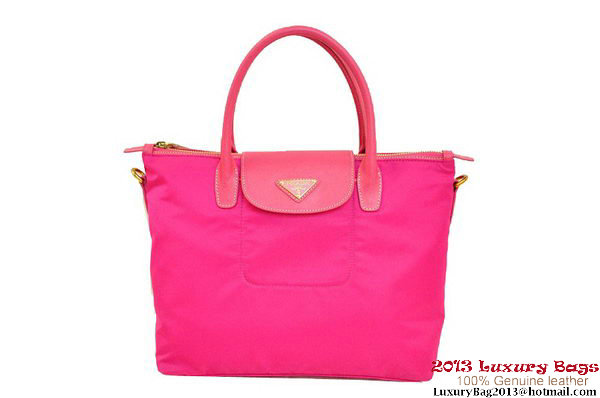 Prada BN2106 Peach Tessuto Nylon Saffiiano Leather Tote Bag