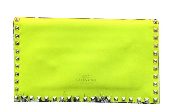 Valentino Garavani Rockstud Leather Clutch VO808 Lemon