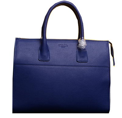 PRADA Grainy Leather Business Briefcase BN2699 Blue