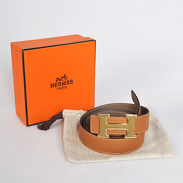 Hermes Dark Gray Bovine Jugular Veins Belt HR1009A Gold