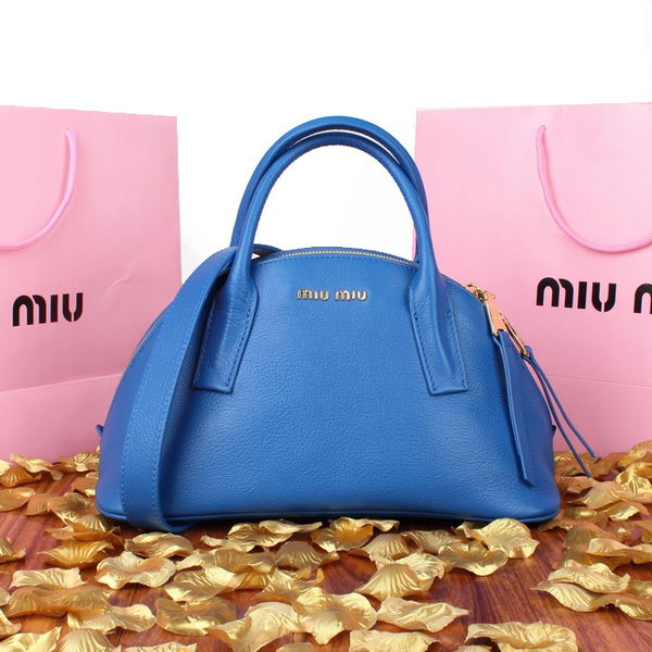 miu miu Pebble Finish Madras Goat Leather Top Handle Bag 88027 Blue