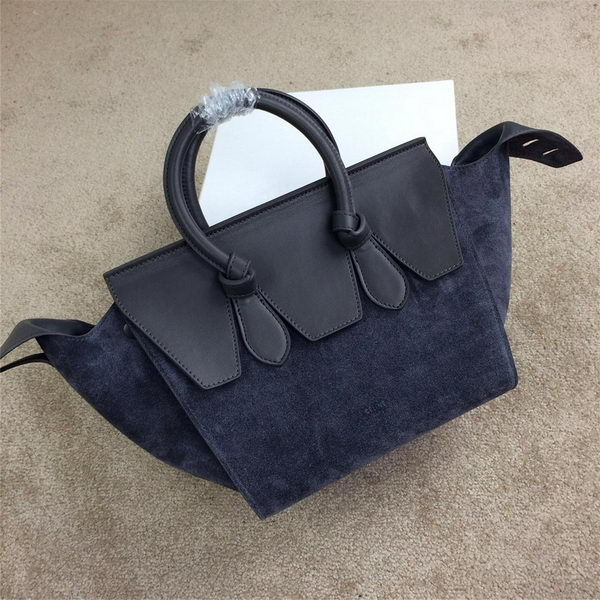 Celine Tie Nano Top Handle Bags Suede Leather C98313 Grey