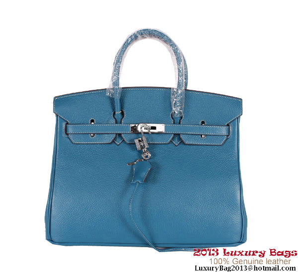 Hermes Birkin 35CM Tote Bag Clemence Leather H-35 Blue