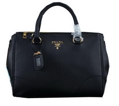 PRADA Litchi Leather Tote Bag PBN2324 Black