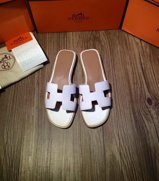 Hermes Slipper Patent Leather HO0403 White