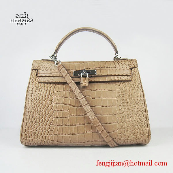 Hermes Kelly 32cm Crocodile Veins Leather Bag Light Coffee 6108 Silver Hardware