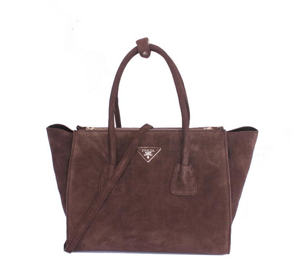 Prada Suede Leather Tote Bag BN2619 Dark Brown