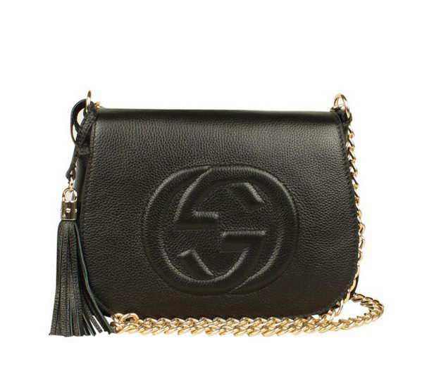 Gucci Broadway Calf Leather Hard Case Clutch 323191 Black