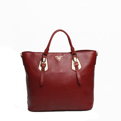 Prada BN1902 Red Original Calf Leather Tote Bag