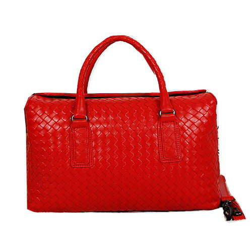 Bottega Veneta Krim Intrecciato Light Calf Bag BV13004 Red