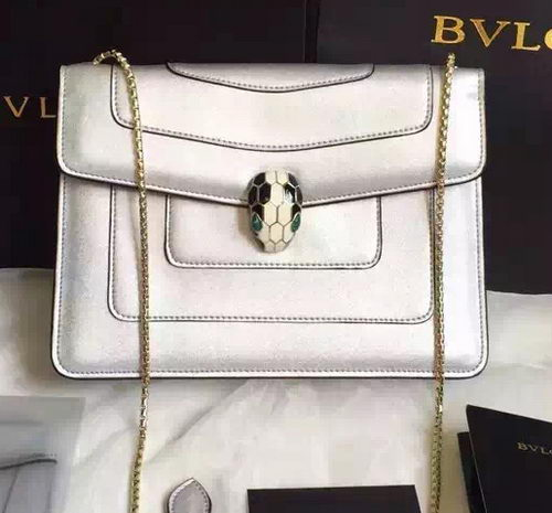 BVLGARI Shoulder Bag Calfskin Leather BG22359 Silver
