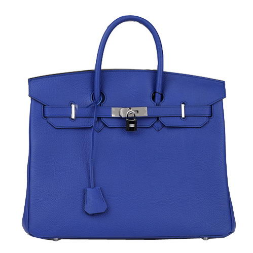 Hermes Birkin 35CM Tote Bag Blue Original Leather H35 Silver