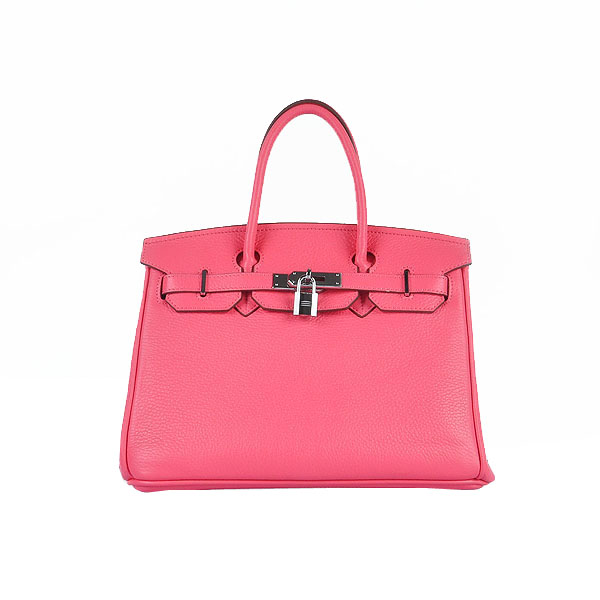 Hermes Birkin 30CM Tote Bags Pink Clemence Leather Silver