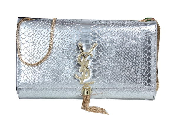 YSL Monogramme Cross-body Shoulder Bag Croco Leather Y311214 Silver
