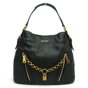 Prada Leather Hobo Bag BR4216 Black