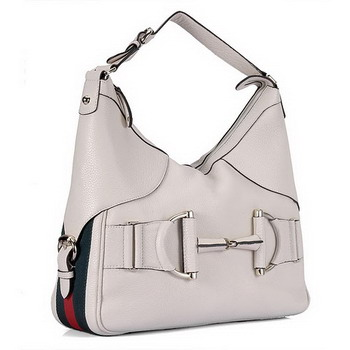 Gucci Heritage Nubuck Leather Medium Hobo 247602 White