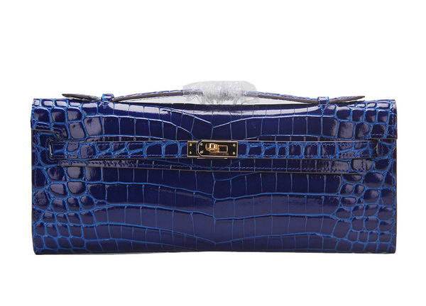 Hermes Kelly Clutch Bag Croco Leather K1002 Blue