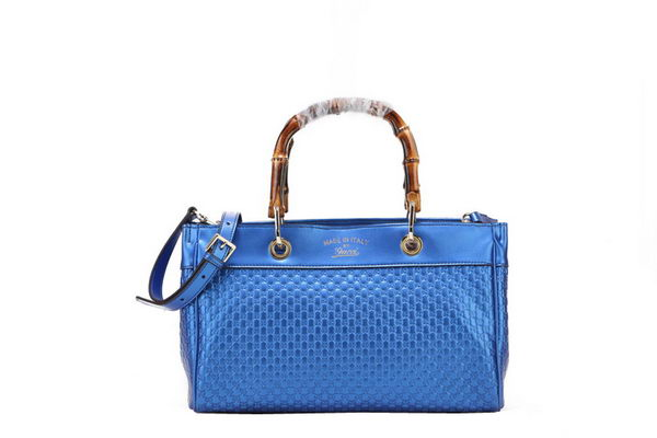 Gucci Bamboo Tote Bag Shiny Microguccissima Leather 323660 Blue