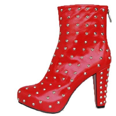 Christian Louboutin Red Sole Shoes Ariella Clou Silver Studded Boot Red